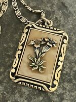 Vintage Pendant & Chain Necklace Eloxial Alloy Floral Gold Tone Retro Jewellery