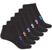 Womens NWT Under Armour No-Show Socks 6prs Black