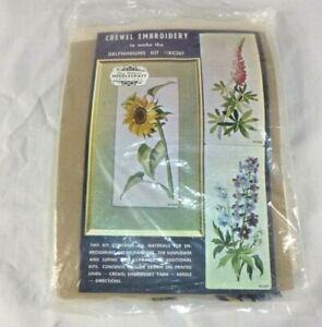 Vtg Elsa Williams Crewel Embroidery Kit KC261 Delphiniums Flowers COMPLETE