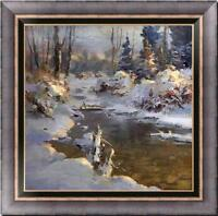 "Original Oil painting art landscape snow winter on canvas 30""x30"""