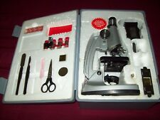 TASCO 1200X MICROSCOPE SET With Gray Carry Case and Accessories