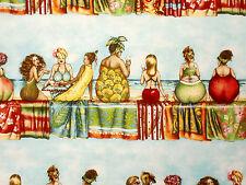 Witzige Stoffe Frauen Weiber die Fruit Ladies feiern Strand Sekt Bordüre aus USA