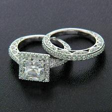 Engagement & Wedding Bridal Halo Ring Set 2.21Ct Princess Diamond 14K White Gold