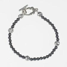 Hematite and Silver Handmade Beaded Bracelet