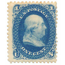 63TC6n 1c Rare Blue Trial Color Proof on Wove Paper, 1861, William Wyckoff