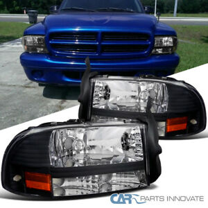 For Dodge 97-04 Dakota 98-03 Durango Black 1PC Headlights Turn Signal Lamps Pair