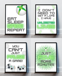 Black Green Xbox Inspired Gaming Print Poster Boys Bedroom Gamer Gifts Teen
