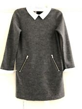 Authentic Bonpoint Girls Grey 100% Wool Dress With Detachable Collar/Cuffs 6A 6Y