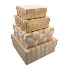 Nidificato set di 4 Oro & Crema varie Pattern scatole regalo per ogni occasione-GBS149