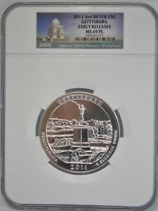 2011 5 OZ Gettysburg Silver 25C NGC MS69 PL Early Releases America The Beautiful