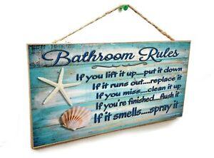 """Seashells Bathroom Rules If It Smells Spray It Beach 5"""" x 10"""" Bath SIGN Plaque"""