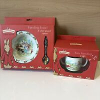 Royal Doulton Bunnykins Feeding Bowl And Silver Plated Spoon + Two Handled Cup