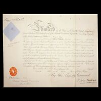 King England Edward VII Signed Royal Military Document Autograph Queen Victoria