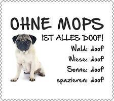 """Displaytuch Mops BEIGE 2 """"ALLES DOOF"""" Brillenputztuch Hund Neu GT0036"""