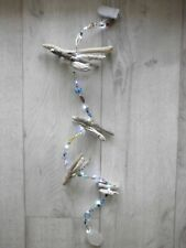 """Driftwood and sea glass hanging garland+beads plus 20 Led white lights  35"""""""