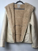 Urban Outfitters Sherpa Lined Quilted Hood Tan Jacket Women's Size M/L