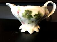 Creamer Antique EUC Porcelain Collectible Pink Tea Roses Green Leaf Vintage EUC