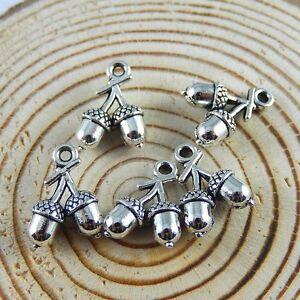 50pcs Vintage Silver Alloy Mini Pine Nuts Pendants Charms Jewelry Making 52158