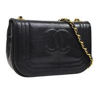 CHANEL CC Single Chain Shoulder Bag Black Lizard Leather Vintage AK35586e