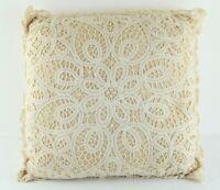 "Vintage Cotton Lace Throw Pillow 13"" Square Cottagecore Granny Country Decor"