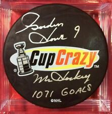 GORDIE HOWE SIGNED CUP CRAZY PUCK INSCRIBED MR HOCKEY 1071 G DETROIT RED WINGS