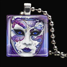 MUSICAL THEATER MASK Purple Drama Theatre Glass Tile Pendant Necklace Silver