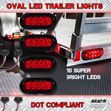 "4Pcs Trailer Truck LED Sealed RED 6"" Oval Stop Turn Tail Light Marine Waterproof"