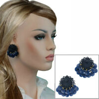 Vintage Exotic Navy Blue Beads Dangle Enamel Clip On Earrings Festival Wear