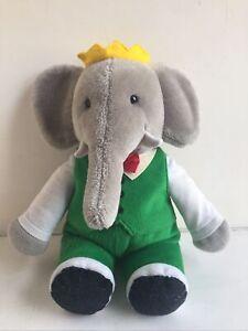 Large Vintage Babar the Elephant King Prince Plush Soft Toy Gund? 13 Inches