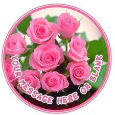 ND3 Pink Roses mum nan sister personalised round cake topper edible icing