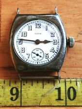 ANTIQUE WWI ELGIN WATCH WRISTWATCH STERLING SILVER CASE, Serviced and Running