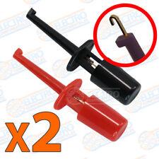 2x Puntas de prueba redonda con gancho ROJO + NEGRO clip test hook 1,7