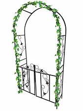 More details for new metal garden arch with gate archway ornament for climbing plants
