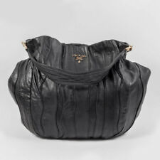 PRADA Black Leather Patch Work Gathered Shoulder Top Handle Hobo Handbag Medium