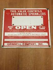 Vintage Grinnell Fire Sprinkler Valve Sign Metal