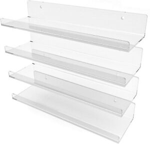 Premium Clear Acrylic Shelves Wall Mounted - 15 Inch (4 Pack) Invisible Shelves