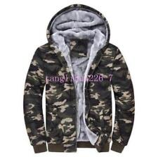 HOT Mens Camouflage Army Coats Winter Velvet Hooded Zipper Jacket Casual Hoodies