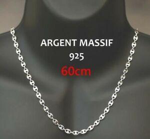 Chaine Graine de Café 60cm en Acier Inoxydable Couleur Argent Collier - Monz ™