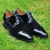 Handmade Leather two tone black suede with patant leather shoes for men