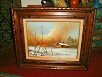 Vintage Oil Painting On Canvas Barn House Snow Field Trees Signed Rozario