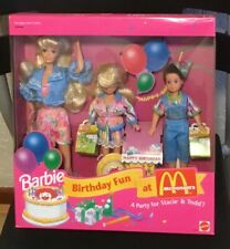 1993 Birthday Fun at McDonald's Barbie, Stacie & Todd doll party NRFB happy