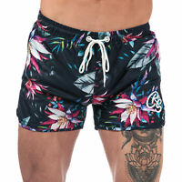Mens Crosshatch Mauritius Print Short In Black Floral- Ribbed Waistband- Zip