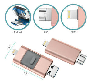 512GB pink USB Flash Drive 3-in-1 for Android, PC, iPhone lightning port