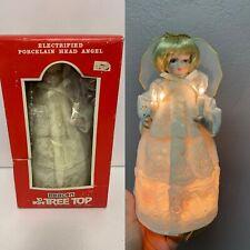 Vintage Beacon Angel 10 Light Up Christmas Tree Top Topper Porcelain Head