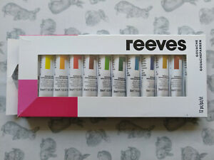REEVES Gouache Paint Set of 12 10ml Tubes Watercolours New in Box