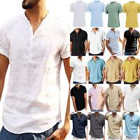 Herren Sommer Kurzarmshirt Unifarben Henley T-Shirts Polohemd Stehkragen Tee Top