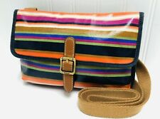 Fossil Keyper Crossbody Colorful Multi Striped Coated Canvas Small Shoulder Bag