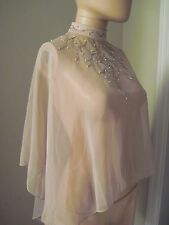 VTG 70's Nude Cascading Hi-Low Chiffon Sheer Embellished Pearl & Beaded Cape