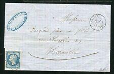 Belle lettre de Lasalle ( Gard 1861 ) pour Marseille - Cachet PC 1658