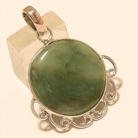 Natural Russian Green Prehnite Pendant 925Sterling Silver Christmas Fine Jewelry